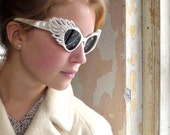 Rare Wrap Around Cat Eye 1950s Sunglasses Made in France