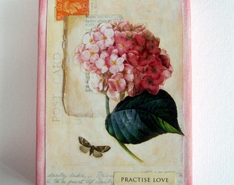 Original mixed media art collage canvas with flower, vintage postcard & butterfly, pink cream