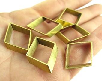 Raw Brass Geometric Diamond Charms (6x) (K107-A)