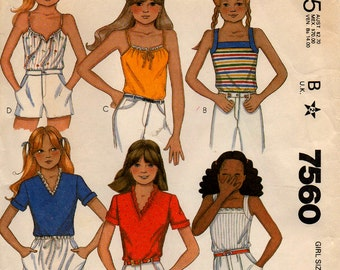 1981 Uncut Girls' KNIT TOPS Pattern McCALL'S 7560Size 7 School Clothes Warm Weather Tops Vintage Sewing