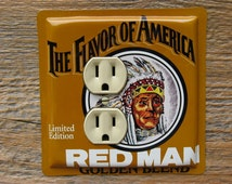 Rustic Cabin Southwestern Style Indian Decor Outlet Cover Made From An Old Red Man Tobacco Tin Can OLC-1075