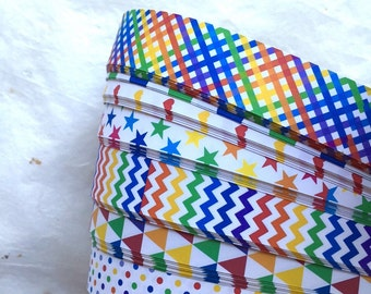 "5/8"" Weaving Star Paper~ Assorted Rainbow Patterns (50 strips)"