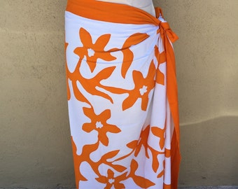 Tifaifai,Tahitian pareo, dance fabric, pareo, costume, orange and white print, rayon, fringeless, flower