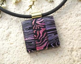 Black Pink Gold  Necklace, Dichroic Jewelry ,Animal Print, Fused Glass Jewelry, Dichroic Pendant,Gold./Black Necklace Included 083015p102