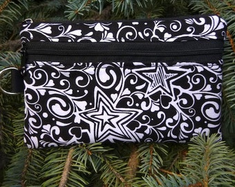 Black and White mini wallet, purse organizer, wristlet, Daydreamer  Sweet Pea