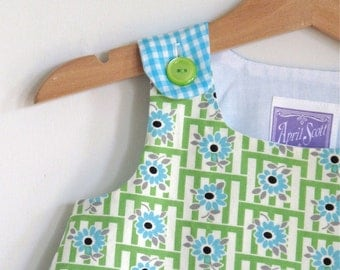 Kitchen Baby Girls' Dress, Toddler Dress - Sizes 3 - 6 Months,  6 - 12  Months, 12 - 18 Months - Blue Green Retro Floral Dress with Gingham