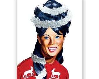 Set of 12 - Tinsel Girl Christmas Card