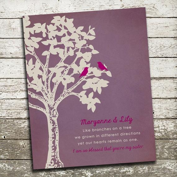 Sisters Custom Gift Print - Wedding Gift for Sister - Birthday Gift ...