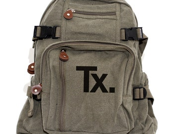 Backpack, Texas State Monogram Backpack, Canvas Backpack, TX, University Texas, Back to School Laptop Bag, Women & Men Backpack