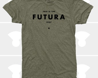 Futura Men's T-Shirt, Typography T-Shirt, Men's Clothing, Shirt, Graphic Design, Wes Anderson, Hipster, Green, Graphic Tee, TShirt for Men