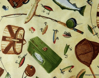 One Half Yard Cut Quilt Fabric, Different Fish and Fishing Gear on Cream from Timeless Treasures, Sewing-Quilting-Craft Supplies