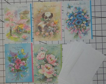 A set of 5 Beautiful greeting cards 3 Happy Birthday, 2 Get Well Soon Cards Unused Vintage or Antique 1940's with 5 envelopes