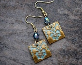 Gold Cyan Polymer clay dangle earrings. Teal Gold Square Boho jewelry. Wire and clay Modern earrings. Iridescent crystal Art jewelry.