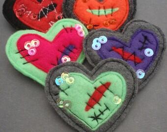 Handmade Heart Brooch - Felt Brooch - Halloween Brooch - Bleeding Heart - Halloween Jewelry - Wounded Heart