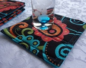 Sassy Summer Quilted Modern Coasters  - Set of 4