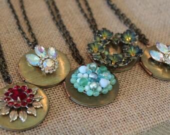 Vintage Locket Necklace - Revamped Vintage - Long locket pendant necklace