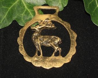 Vintage or Antique Stag Horse Brass - Horned God - Folk Magic, British, Pagan, Wisdom - Rare