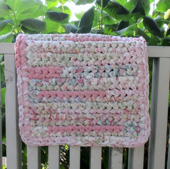 Recycled Rag Rug Rose Bath Mat Shabby Chic By MoonLightSally