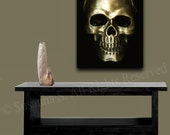 Gold Skull Giclee PRINT on Canvas Large Original Photography Home Decor Wall Art Modern Punk Abstract Contemporary Art by Susanna