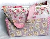 CLEARANCE pink patchwork diaper bag with new, designer and vintage fabrics, one of a kind tote