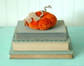 Vintage Velvet Pumpkin, Fall Decor, Autumn, Dark Orange, Recycled Wool, Adjustable Wire Stem, Lana Manis / Honeysuckle Lane