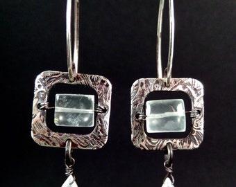 Green Window Prehnite Sterling Earrings with Rainbow Moonstone Briolette Wrapped Drops