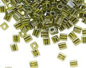 Bead 4mm cube Miyuki green color-lined metallic green (2838) 4mm cube seed bead green seed beads 4mm metallic cube bead