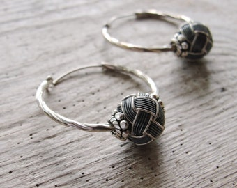 Sterling Silver Hoop Earrings Hand knotted Kazaziye woven Fine Silver Oxidized and Mat