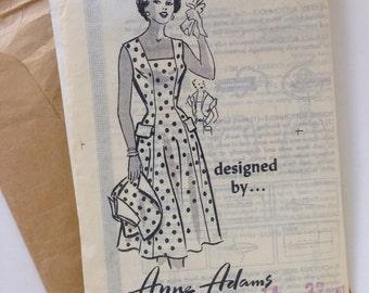 Vintage 50s Dress Pattern Sewing Pattern Sleeveless Dress and Bolero jacket Rockabilly Retro Sundress 32 Bust Anne Adams 1953