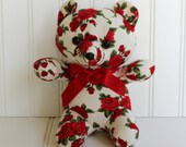 Teddy Bear - Red Roses - Romantic - Gift Christmas Holiday Valentines Day - Stuffed Bear Doll