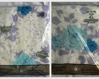 Twin Bedding Set - Twin Flat Sheet Fitted Sheet w/ Pillowcase, Retro - NIP - New Old Stock - Cotton - Blue Olive Purple