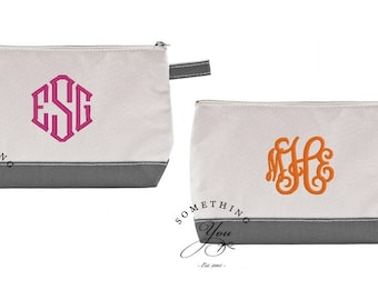 Grey and Natural Monogrammed Canvas Make-Up Bag - Personalized Cosmetic Bags, Monogrammed Gray Cosmetic Bags for Bridesmaids, Women and Men