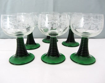 Vintage Cordial, Aperitif, or Liqueur Glasses. Set Of Six