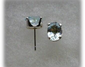 9x7mm Sky Blue Topaz Gemstones in 925 Sterling Silver Stud Earrings  SnapsByAnthony