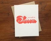 Drop Shadow: Swoon, single letterpress card