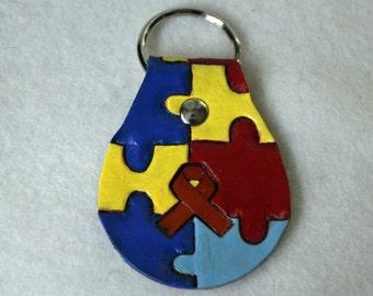 Brown Leather Key Fob - Autism Awareness Ribbon