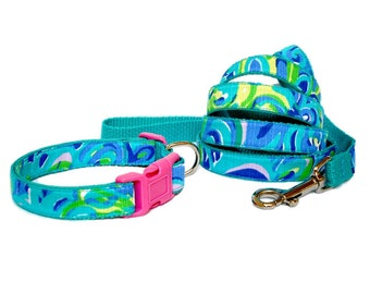 Lilly's Lagoon Dog Collar and/or Leash Set Made from Lilly Pulitzer Fabric Size: Your Choice