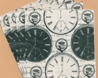 PN142 Paper Napkins by Mesa Fina ~ 5x5 Black & White Pocket Watches Set of 4