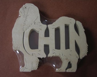 Japanese Chin  Dog Puzzle Wooden Toy Hand Cut with Scroll Saw