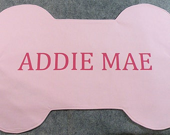 Pink Dog Placemat,  Bone Placemat, Personalized Dog Mat
