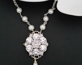Pearl and Crystal Necklace Art Deco Bridal Jewelry Vintage Style Wedding Necklace Pearl and Rhinestone Necklace Crystal Drop Pearl CHLOE
