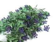 Vintage 1960s plastic flowers, purple berries and leaves, berry, mini sprays for crafting