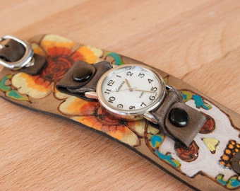 Cuff Watch - Leather Cuff Watch - Wide - Vesa pattern with day of the dead sugar skull - Orange yellow red and antique black - men or women
