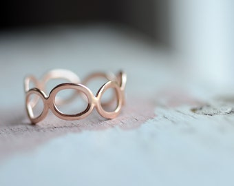 Gold Ring - Gold Wedding Band - Womens Wedding Ring - Rose Gold Ring - 14k  gold Unique Wedding Band - Graduation Gift - Anniversary R4093