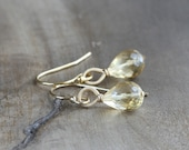 RESERVED for M - Tiny citrine drop earrings - faceted citrine teardrops & 14k gold fill