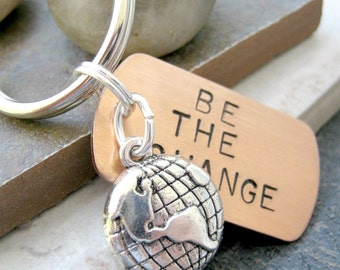 Be the Change Keychain, two dimensional globe charm, optional initial disc, see all pics, motivation, empowerment, Ghandi quote