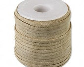 Genuine Suede Leather Cord Lace Beige Tan 3mm wide for necklaces and bracelets, 10 or 25 ft.