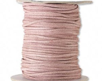 Faux Suede Leather Cord Lace Rose Soft Cotton 3mm wide for necklaces and bracelets, 10 or 25 ft.