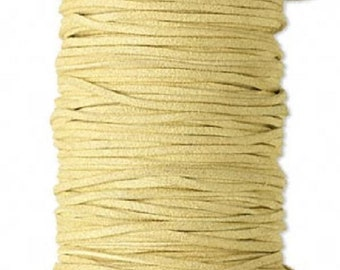 Faux Suede Leather Cord Lace Yellow Tan Soft Cotton 3mm wide for necklaces and bracelets, 10 or 25 ft.