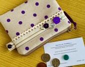 SALE SALE SALE Zipper Pouch Women's Wallet Purple Polka Dot Coin Purse
